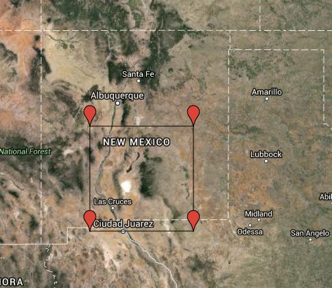 Map highlighting South-Central New Mexico and part of Texas